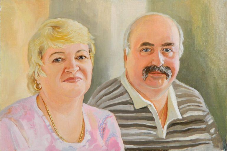 Портрет по фото маслом, как подарок на годовщину свадьбы…