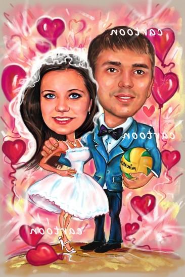 Свадебный шарж с оригинальным сюжетом в Калининграде!