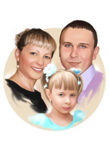Семейный портрет по фото на холсте в Калининграде — правильный подарок!
