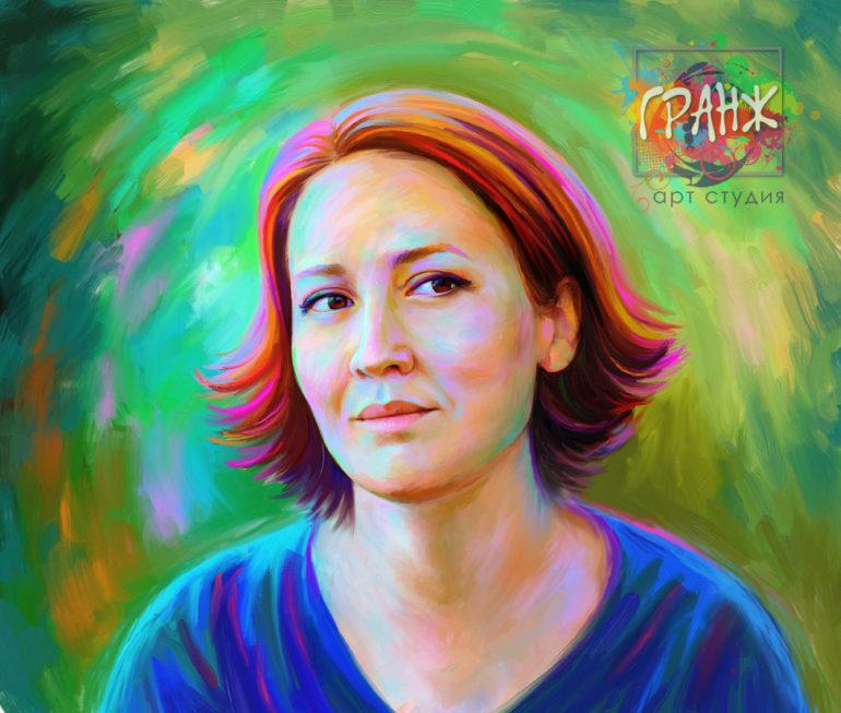 Креативный Art Brush портрет по фото для руководителя женщины…