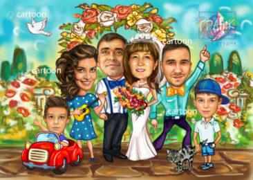 Шарж по фото на годовщину свадьбы на заказ в Калининграде…